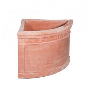 Vasi in terracotta artigianali classici e  di design modello Angolare Foglie  | Laboratorio San Rocco