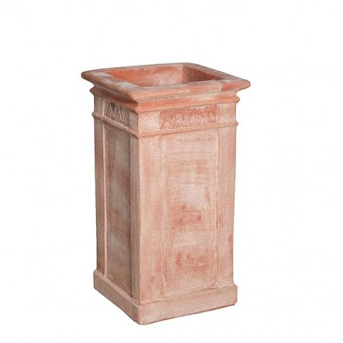 Vasi in terracotta artigianali classici e  di design modello Piloncino Foglie  | Laboratorio San Rocco