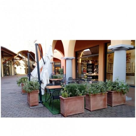 Vasi in terracotta artigianali classici e  di design modello Cassetta Alta Foglie  | Laboratorio San Rocco