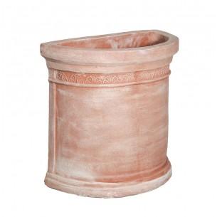 Vasi in terracotta artigianali classici e  di design modello Semicircolare Foglie  | Laboratorio San Rocco